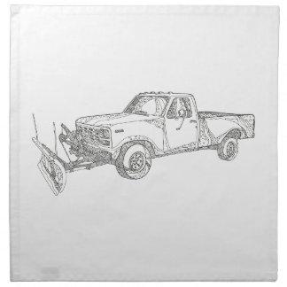 Snow Plow Truck Doodle Art Napkin