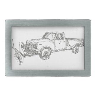 Snow Plow Truck Doodle Art Rectangular Belt Buckle