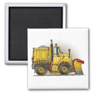 Snow Plow Truck Square Magnet