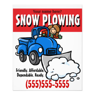 Snow Plowing. Snow Removal Business Service. Flyer