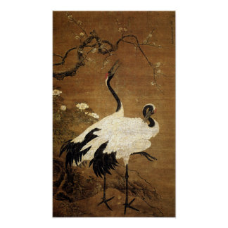 Snow Plums and Twin Cranes (Ming Dynasty) Poster