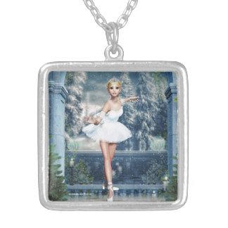 Snow Princess Ballerina Christmas Pendant Necklace