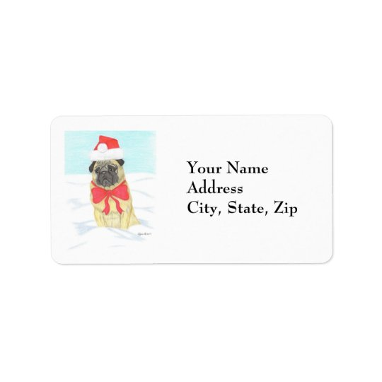 Snow Pug Address Label