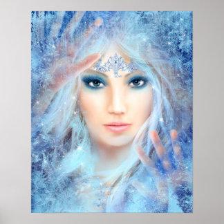 Snow queen. Winter beautiful woman. Portrait. Poster