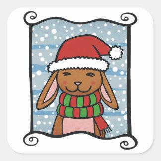 Snow Rabbit Square Stickers