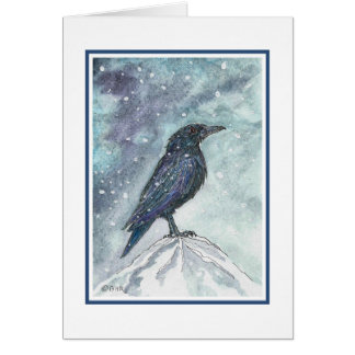 Snow Raven Yule Card - Revised