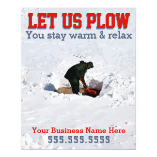 Snow Removal. Plowing Business Custom Marketing Ad Flyer
