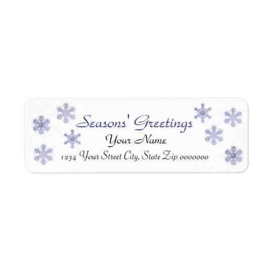 Snow Return Adderss Label Return Address Label