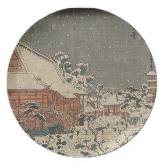 Snow Scene at Sensô-ji Temple at Kinryûzan Dinner Plate