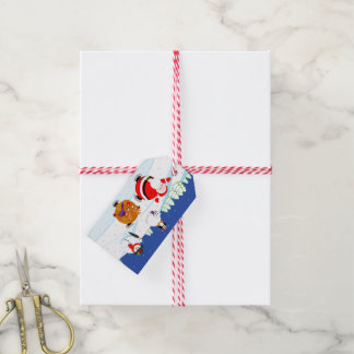 Snow scene of Santa Claus and Rudolph ice skating, Gift Tags