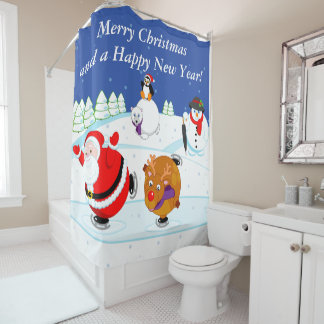 Snow scene of Santa Claus and Rudolph ice skating, Shower Curtain
