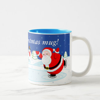 Snow scene of Santa Claus and Rudolph ice skating, Two-Tone Coffee Mug