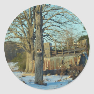 Snow Scene - Rural NC Round Sticker