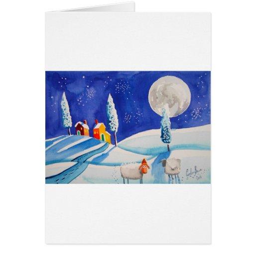 SNOW SCENE SHEEP MOON GREETING CARD