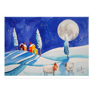 SNOW SCENE SHEEP MOON POSTCARD