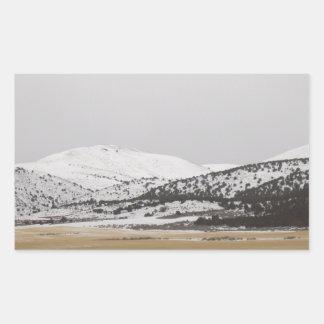 snow scene rectangular sticker
