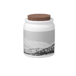 snow scene candy jar