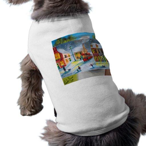 SNOW SCENE TRAM STREET SCENE Gordon Bruce Doggie Tee Shirt