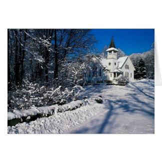 Snow Scene Winter Rural Church Blank Greeting Card