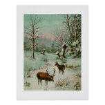 Snow scene with deer poster