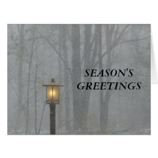 Snow Scene with Glowing Old Street Lamp Big Card