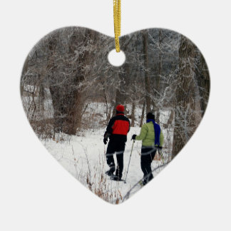 Snow Shoeing In The Park Ceramic Heart Decoration