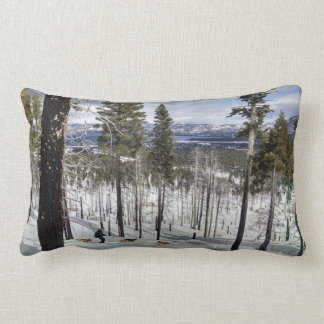 Snow shoeing with dogs lumbar pillow