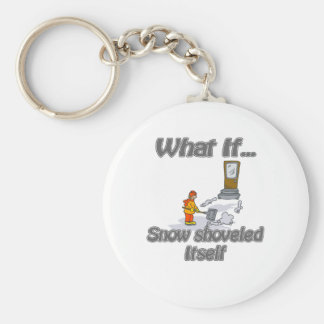 Snow Shovel Basic Round Button Key Ring