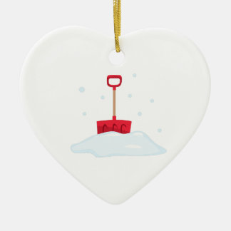 Snow Shovel Ceramic Heart Decoration