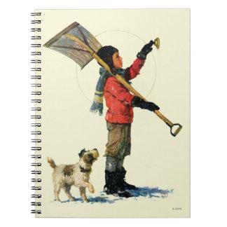 Snow Shoveler Spiral Note Book