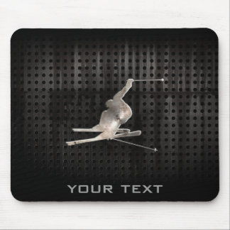 Snow Skiing; Cool Black Mouse Pad