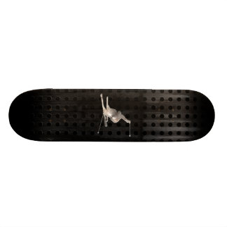 Snow Skiing; Cool Black Custom Skate Board