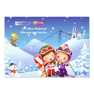 Snow Skiing Tots Invitation