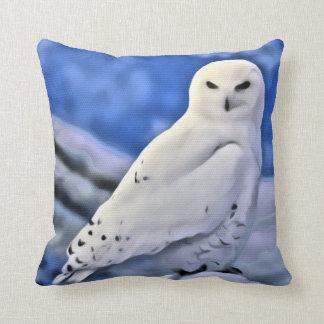 Snow Snowy White Owl Bird Blue Sky Cushion