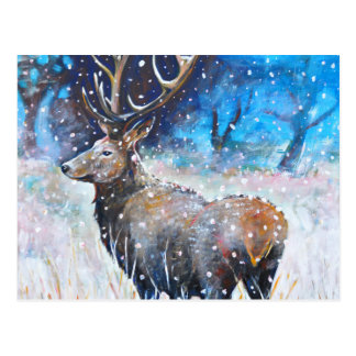 Snow Stag Postcard