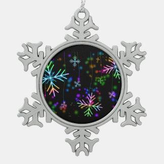 Snow Star Snowflake Pewter Christmas Ornament