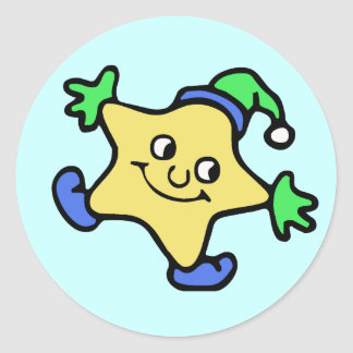 Snow Star Round Stickers