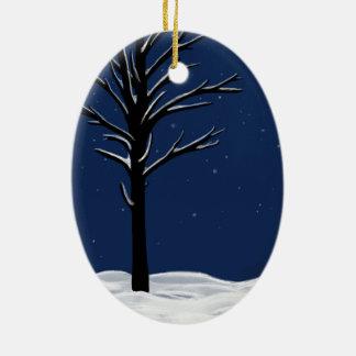 Snow & Stars Ceramic Ornament