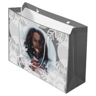 Snow Stars - White, Grey - Gift Bag