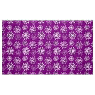Snow Stars - White on Purple - Fabric