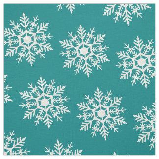 Snow Stars - White on Teal - Fabric