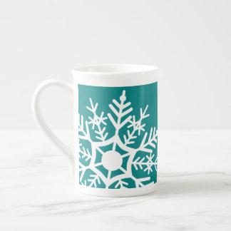 Snow Stars - White & Teal - Mug