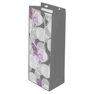 Snow Stars - White, Teal, Purple - Wine Gift Bag