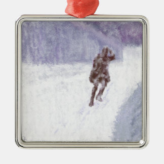 Snow Storm Art Silver-Colored Square Decoration