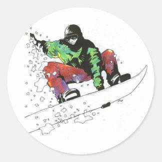 Snow Surfer Classic Round Sticker