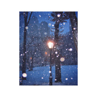 Snow Swirling Around A Streetlamp Canvas Print