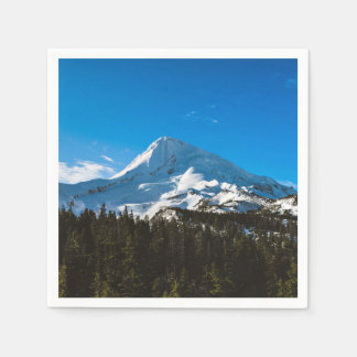 Snow Themed, Peak Of A Snow Covered Mountain Durin Paper Napkins