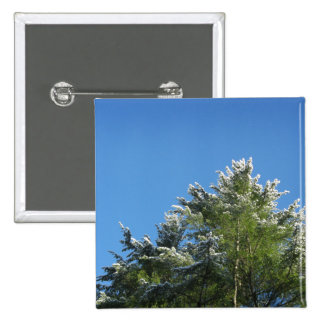 Snow-tipped Pine Tree on Blue Sky Pinback Button