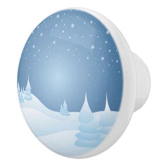 Snow Tipped Trees Ceramic Knob