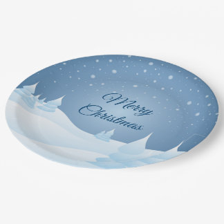 Snow Tipped Trees Paper Plate